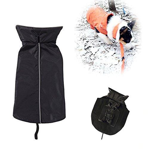 SymbolLife-Hundemantel-aus-100-Wasserdicht-Nylon-Fleece-Futter-Jacke-Reflektierende-Hundejacke-Warm-Hundemantel-Climate-Changer-Fleece-Jacke-einfaches-An-und-AusziehenXS-Schwarz-Neu