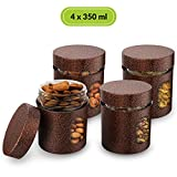 #10: HomePuff Premium Airtight Glass Canisters in Metal Overlay (350 ml X 4) -Copper