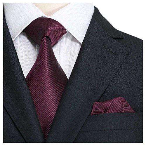 Landisun Verschiedene Muster Männer Seide Krawatte Set: Krawatte+Einstecktuch 84P Burgund Feststoffe, 3.75