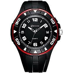 Unisex 30M Waterproof Night Light Simple Style PU Leather Strap Quartz Wrist Watch(Red)