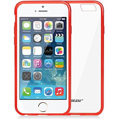 Jisoncase Dünne Transparente Hülle für Apple iPhone 6 (4,7 Zoll) Silikon Schutzhülle Leicht Case Hochwertige TPU Durchsichtig Kristall Handyschale Rosa JS-IP6-03P33 rot