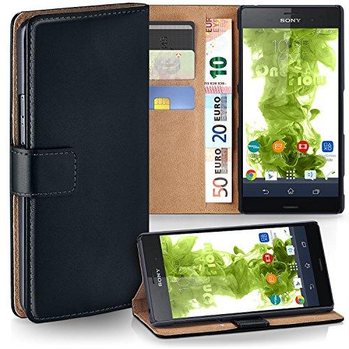 Sony Xperia Z3 Compact Hülle Schwarz mit Karten-Fach [OneFlow 360° Book Klapp-Hülle] Handytasche Kunst-Leder Handyhülle für Sony Xperia Z3 Compact/Z3 Mini Case Flip Cover Schutzhülle Tasche