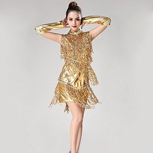 Dance Rock Tango Rock Pailletten Fringe Dance Rock Tanzwettbewerb Performance Kostüm,L (Fringe Jazz Dance Kostüme)