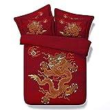 RoyalLinens Bettwäsche-Set, orientalischer Stil, Rot, chinesischer traditioneller Drache und Phönix, inkl. 1 Bettdeckenbezug, 2 Kissenbezügen, Jf245, Super King Size 3pcs