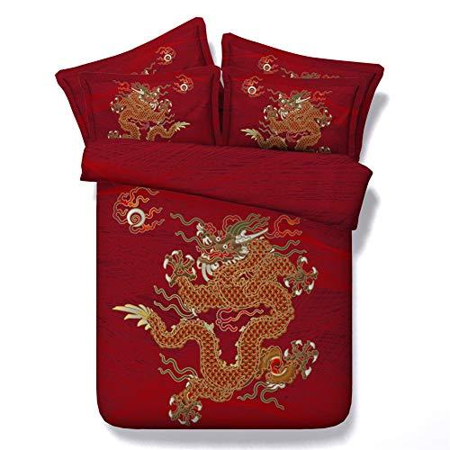 Morbuy set biancheria da letto set copripiumino matrimoniale 3 pezzi 3d stampato animale parure naturale copripiumino chiusura a zip letto matrimoniale e federa (260x220cm,drago rosso)