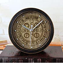 irugh Relojes de Chimenea,Vintage Antiguo Negro Madera Talla de Madera Moda Creativa Retro Reloj