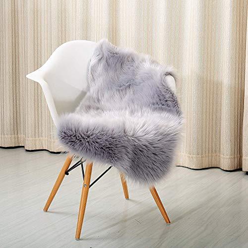 Schaffell Teppich Hohe Dichte Wolle Perfekt Stuhl Abdeckung Sitz Mats Sofa Werfen Decke Pads Gemütlich Plüsch-,Gray,60x90cm(24x35inch) ()