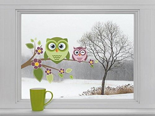 Eulen auf Ast mit Blumen - Fenstersticker Sticker Aufkleber Vögel F038