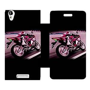 Skintice Designer Flip Cover with Vinyl wrap-around for Lava Iris X1 Atom , Design - Bike