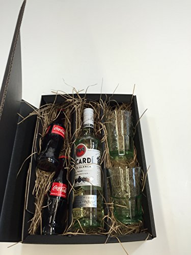 Bacardi Cola Set / Geschenkset – Bacardi Carta Blanca 700ml (37,5% Vol) + 2x Coca Cola 200ml + 2x Bacardi Gläser