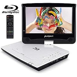 """Pumpkin Reproductor Blu-ray DVD Portátil - 10.1"""" Reproductor 1080P HDMI con Pantalla Giratoria, soporta Dolby Audio / USB / SD / AV / DVD / CD, 3 Horas Batería Recargable con Mando a Distancia"""