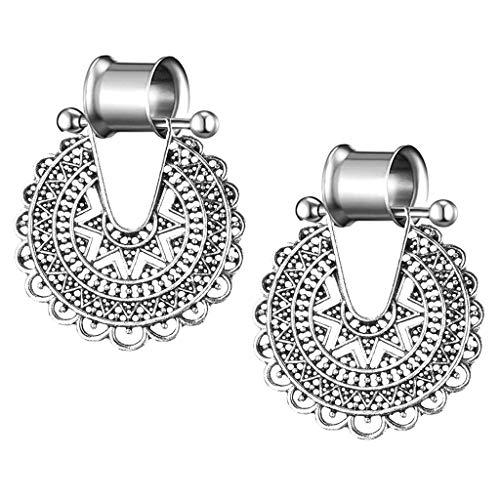 IPOTCH 1 Paar Ohrstöpsel Ohr Tunnel Piercing Schmuck mit Blumen Anhänger - Antikes Silber 8mm