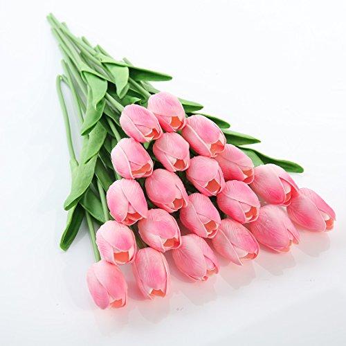 Justoyou Einstielige Latex-Tulpen, fühlen sich an wie echt, künstliche Blumen für Hochzeits-Bouquets, Zuhause, Hotel, Garten-Deco, Veranstaltungen, Weihnachten, als Geschenk, Textil, rose, 20 Stück