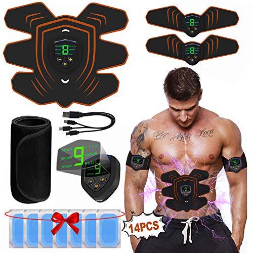 A-TION Elettrostimolatore Addominali Professionale EMS Stimolatore Muscolare con LCD Display Schermo, 6 modalità e 9 Frequenza Corrente Livelli Cintura ABS Trainer (Gel Pad 14pcs + Waist Trainer)