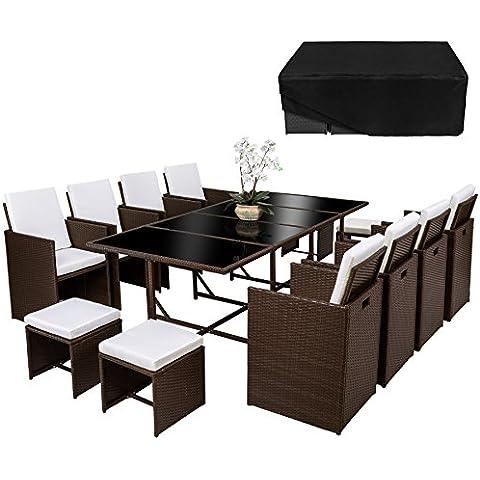 TecTake Conjunto muebles de jardín en ratán sintético comedor juego 8+4+1 + funda completa | tornillos de acero inoxidable | marrón