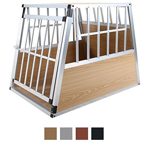 Jalano Hundetransportbox XL Auto Gitterbox große Hunde Alu Hundebox Kofferraum, Farbe:hellbraun