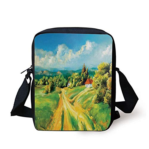 Rustic,Barren Path to Small Village Plenty of Plants and Trees Oil Painting Image,Green Yellow Blue Print Kids Crossbody Messenger Bag Purse