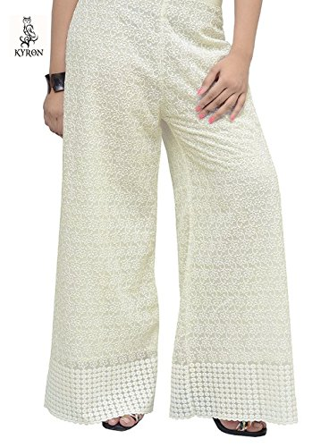 KYRON® COTTON CHICKEN (LAKHNAWI STYLE) HEAVY EMBROIDERY PALAZZO PANT FOR WOMENS (OFF...