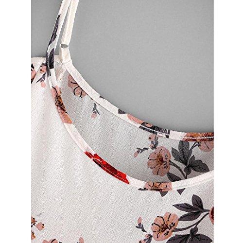 Tefamore Femmes Débardeurs Fleur Embroidered Strappy Cami Top G-Beige