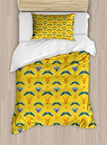 Abakuhaus Känguru Bettbezug Set Einzelbett, Aboriginal Art Boomerang, Kuscheligform Top Qualität 2 Teiligen Bettbezug mit 1 Kissenbezüge, Mehrfarbig