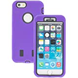 New Apple iphone 6s Case cover Durable Shockproof Armor Case 3in1 Combo Rigid PC + Soft Silicone Protective Case (Purple)