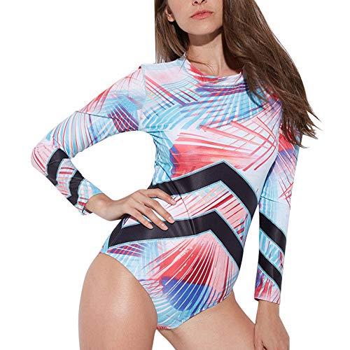 BHYDRY Mode Frauen Langarm gedruckt gestreiften Reißverschluss Kurze dünne Bodysuit Overall(Small,Weiß