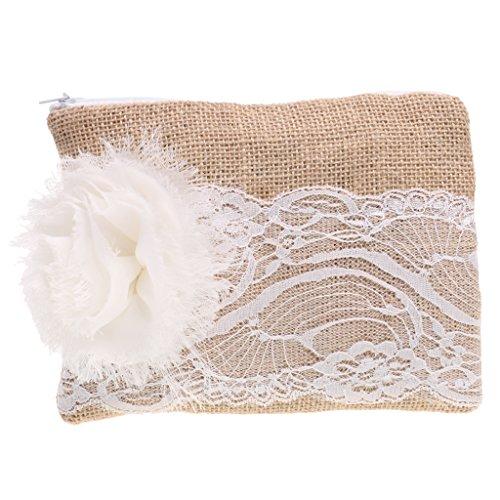Sharplace Jute Abendtasche Damentasche Sackleinen Handtasche Hochzeit Brauttasche mit Spitze