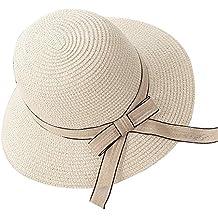 Mujer / Chicas Sombrero de Playa / Sombrero para el sol / Sombrero de paja / Verano Sombrero Pamela niña Beige 01