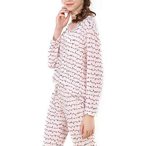 UZZHANG Frauen weichen Nachtwäsche Langarm Stricken Pyjama Set mit Hosen Modal V-Ausschnitt Pyjama Set Plus Größe (Color : Pink, Size : L)