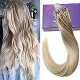 LaaVoo 16 Pouces Micro Loop Extensions de Cheveux Humains 18/22/60 Gris Blond à Blond Moyen et Platine Blond Natural Silky Hair 50 Grammes 1g/s