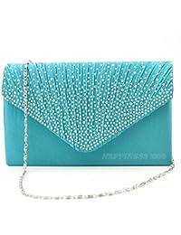 Wocharm Womens Ladies Satin Diamante Clutch Bag Envelope Handbag Evening  Bridal Bag Wedding Fashion Prom Vintage d2d1442c6cc7