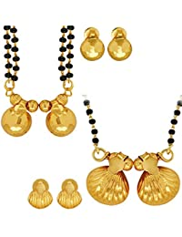Spargz Brass Metal Gold Black Beaded Pack Of 2 Traditional Maharashtrian Manglsutra Set Combo 689