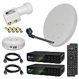 HB-DIGITAL Sat-Komplett-Set: Mini Sat Anlage 40cm Schüssel Hellgrau + UHD Twin LNB 0,1 dB + 20m Kabel + 2X HD 250S Receiver ( für HDTV geeignet )