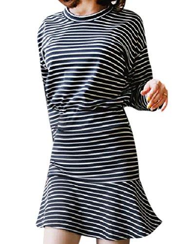 Femme 3/4 Manches Rayures Top w Taille Élastique Agitation Jupe Ourlet Set Bleu