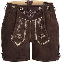 Tracht & Pracht - Damen 100% Wildleder - Trachtenlederhose Kurz Hotpants - Lederhose