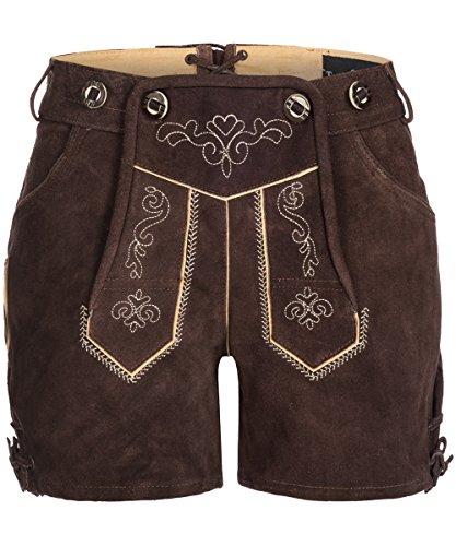 Tracht & Pracht - Damen 100% Wildleder - Trachtenlederhose Kurz Hotpants - Lederhose Dunkelbraun - 38 -