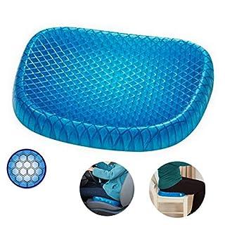 ACMEDE Gel Sitzkissen Orthopädisch Gelkissen Atmungsaktiv Sitzer Honeycomb Rückenstütze für Belüftung Sitz Taille Rone Stützkissen für Auto Office Home Stühle, 37 * 34.5 * 3CM