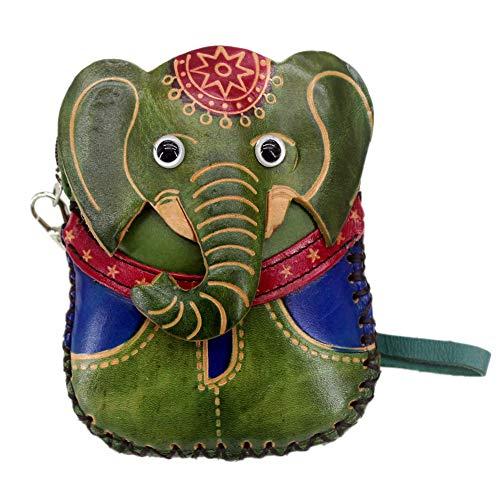 P12cheng Geldbörse für Mädchen, Elefant aus Kunstleder exotischer Kunstleder Mini Tasche mit Reißverschluss - Rot - Schwarze Exotische Mini