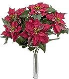 Weihnachtssternstrauß Poinsettenbusch rot Adventsstern Strauß Weihnachtsdeko Kunstpflanze Dekopflanze
