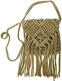 BEETEST Chica mujeres algodón cadena ganchillo bohemio franja borla hueco hacia fuera mensajero Crossbody bolsa de hombro solo Verde