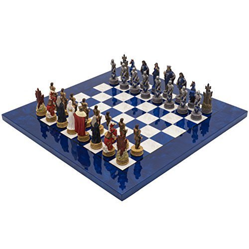 The Regency Chess Company Ltd The King Arthur handbemalt stilisiert Luxus blau Schach festgelegten italfama