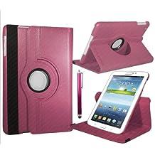 KOBALT 360 grados que giran la cubierta de cuero / soporte para Samsung Galaxy Tab 7.0 4 hot pink