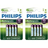 Philips AAA HR03 NiMH Rechargeable Batteries 700mAh - Extra Value 8 Pack