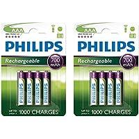Philips Lot de 8 piles rechargeables AAA 700 mAh 1,2V