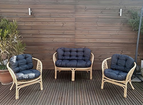 Gartenbankauflagen 6 teiliges Sitzkissen-Set Sitzpolster für Gartengarnitur Set Steve Dunkelgrau JCG1