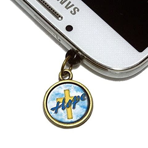 Hope Cross and Clouds Religious Inspiration Cell Mobile Phone Jack Charm Universal Fits iPhone Galaxy HTC