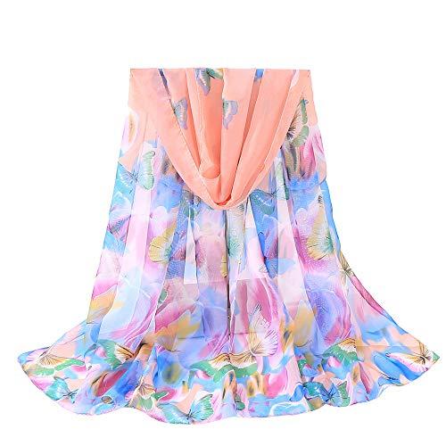 (Fenverk Mode Frau Schmetterlinge Drucken Lange Weich Wickeln Schal Schals GroßE GrößE Modisch Gedruckt Multi Zweck Damen Blume Wraps,160x50cm(Rose Gold))