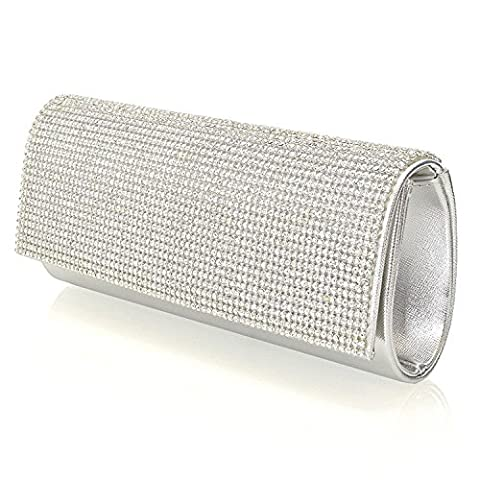OUMIZHI Shimmering Silver Diamante Encrusted Evening Bag Clutch Wallet Party Bride Prom