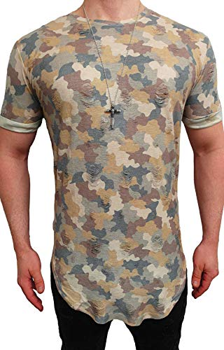 Deep Shirt Basic Oversize Style Shirt lang Longshirt Long Hoody Sommer Herren Sweatshirt NEU Sweater Sweat Jacke Pullover langes Longsleeve m Kapuzenpullover Langarm Sweatjacke Pulli (L, Camo Gelb)