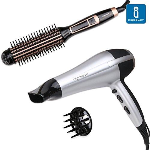 Hace 17 horasAigostar -Secador profesional de pelo en color plateado y  negro con difusor y accesorios. 2200 watios.  Cepillo moldeador rizador  eléctrico 24 ... 778dce7175c1
